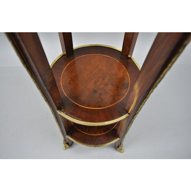Metal French Regency Neoclassical Style Bronze Rams Head Round Inlaid Pedestal Table For Sale - Image 7 of 12