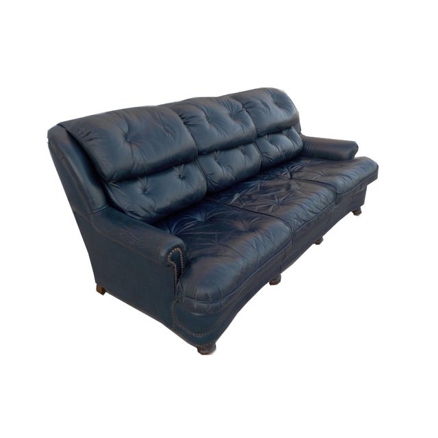 Vintage Tufted Blue Leather Chesterfield Sofa - Image 3 of 7