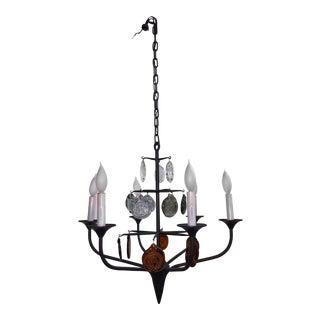 Mid-Century Modern Erik Hoglund Iron Glass 6 Lite Chandelier For Sale