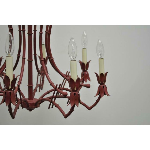 Metal 1940s Red Italian Faux Bamboo Chinese Chippendale Tole Metal Pagoda Chandelier For Sale - Image 7 of 11