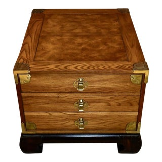Asian Bassett Trunk Like Side Table with Two Drawers For Sale