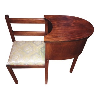 1930s Vintage Chair & Attached Desk For Sale