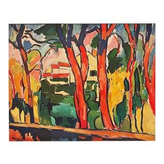 """1947 Maurice De Vlaminck, """"The Red Trees"""" Original Period Parisian Lithograph For Sale"""