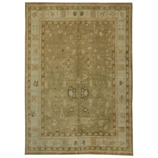 Modern Turkish Oushak Rug with Transitional Style, 13'01 x 18'02