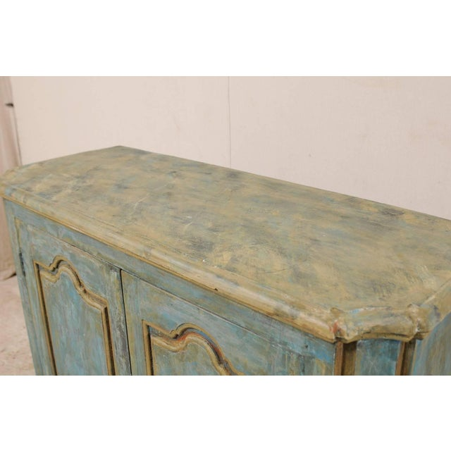 Late 20th Century Custom Vintage Italian Style Two-Door Painted Wood American Buffet Console For Sale - Image 5 of 10