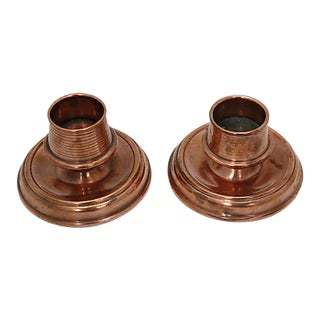Antique English Copper Candleholders - a Pair For Sale