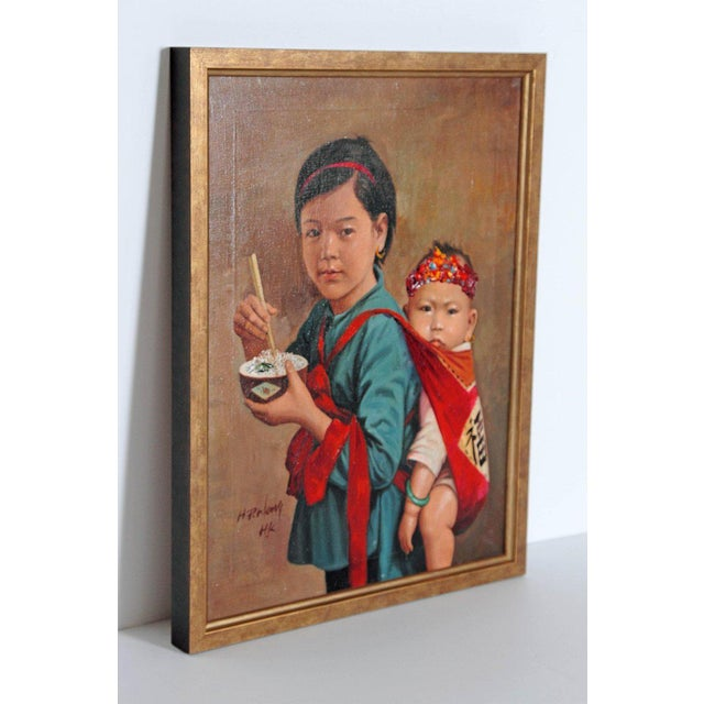 Chinese Oil Painting of Young Girl Carrying Baby For Sale - Image 9 of 12