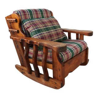 Vintage Carved Oak Ranch Rocker Rocking Chair For Sale