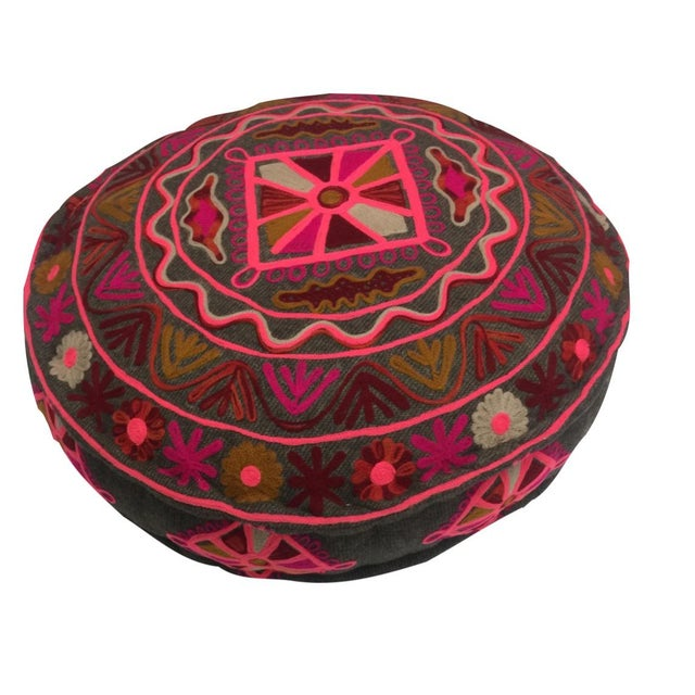 Indian Grinder Table & Embroidered Pouf Ottoman - Image 3 of 6