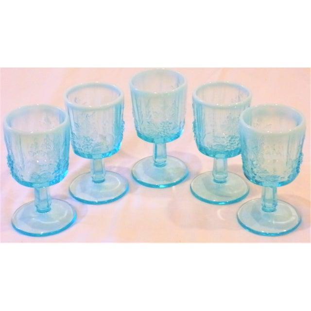 1970s Vintage Opaline Tiffany Blue Wine Glasses - Set of 5 For Sale - Image 5 of 9