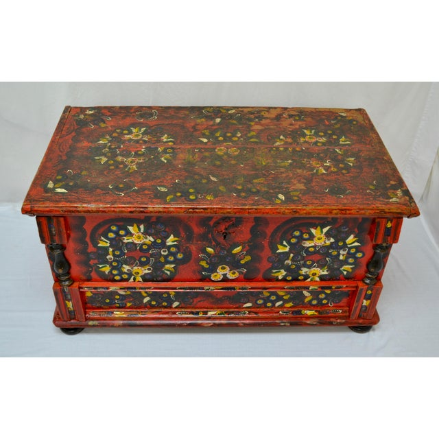 JCL01 Hungarian Painted Pine Trunk or Blanket Chest 44x23.5x21.5 circa 1850 $1695.00 This handsome hand-cut dovetailed...