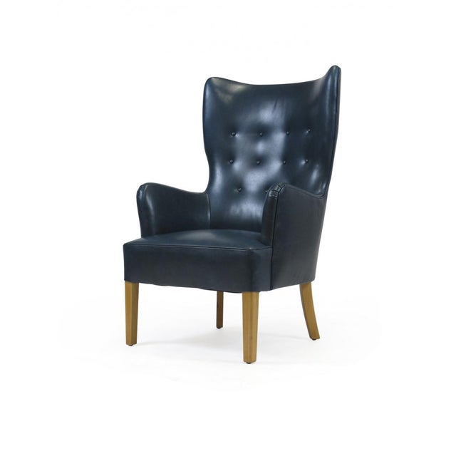 Fritz Hansen 1946 Ole Wanscher for Fritz Hansen Highback Chair in Teal Leather For Sale - Image 4 of 10