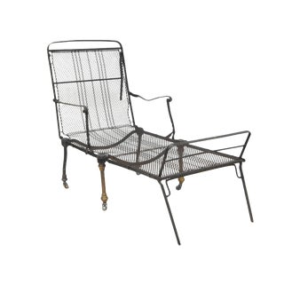 Folding Black Metal Chaise For Sale