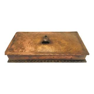 Brutalist Copper Hammered Metal Lidded Box For Sale