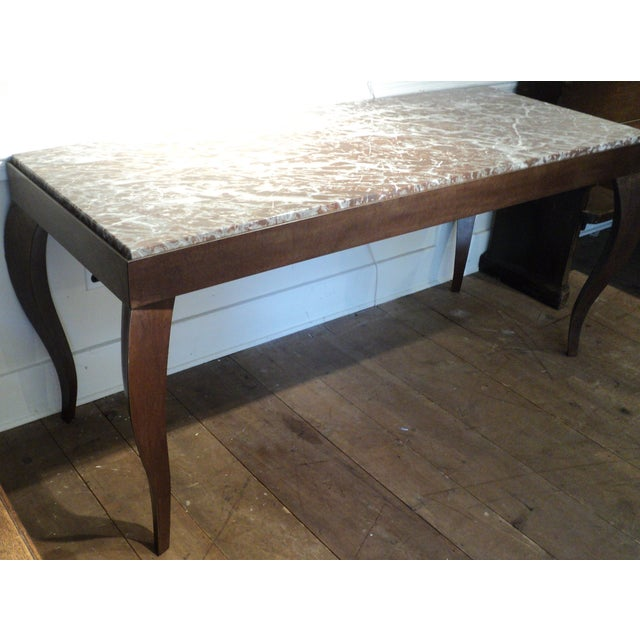 Custom Designed Metal & Marble Console Hall Table - Image 5 of 11