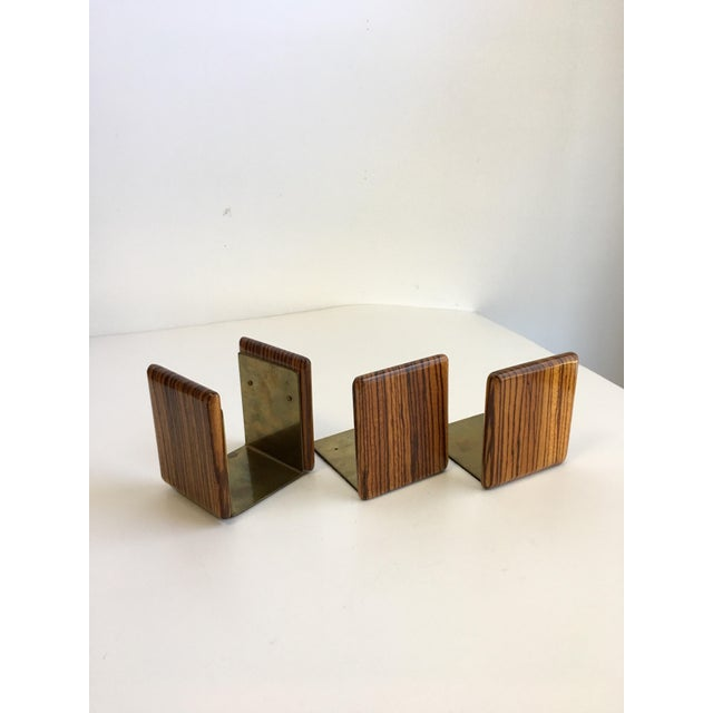 Metal Zebra Wood and Brass Desk Set with Bookends - Set of 3 For Sale - Image 7 of 7
