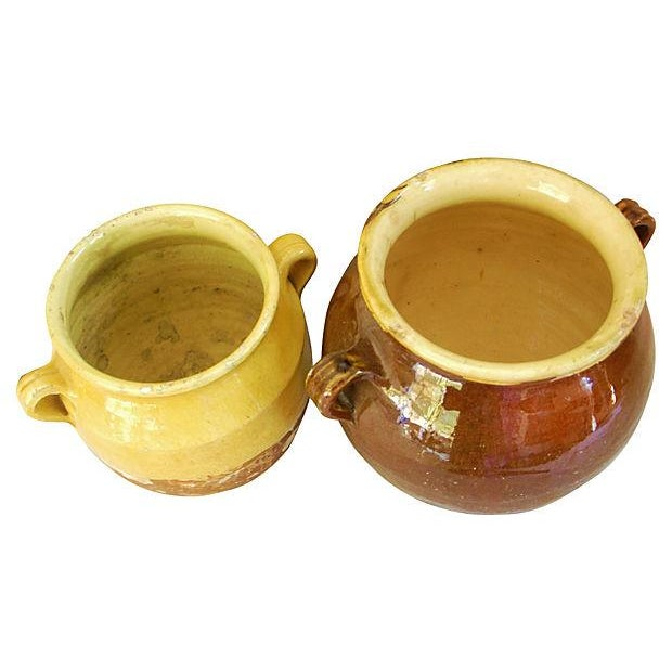French Glazed Double Handled Confit Pots - Pair - Image 6 of 7