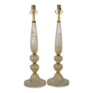 Vintage Murano Glass Table Lamps Bubbles Gold For Sale