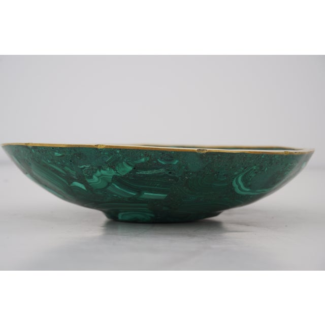 Late 20th Century Vintage Round Malachite Dish With Scalloped Brass Rim For Sale - Image 5 of 10