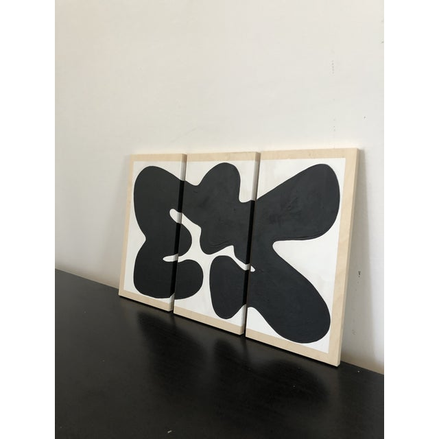 Hannah Polskin original 2019 black and white abstract acrylic painting on wood. Serpentine motif with monochrome color...