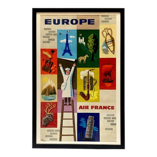 Framed 1957 Jean Carlu Air France Europe Travel Poster For Sale