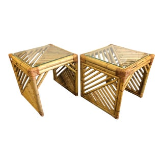 Pair of Cubic Bamboo Side Tables For Sale