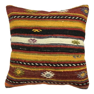 "Mustard and Maroon Vintage Kilim Pillow | 18"" For Sale"
