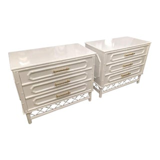 Vintage White Lacquered Faux Bamboo Rattan Chests - a Pair For Sale