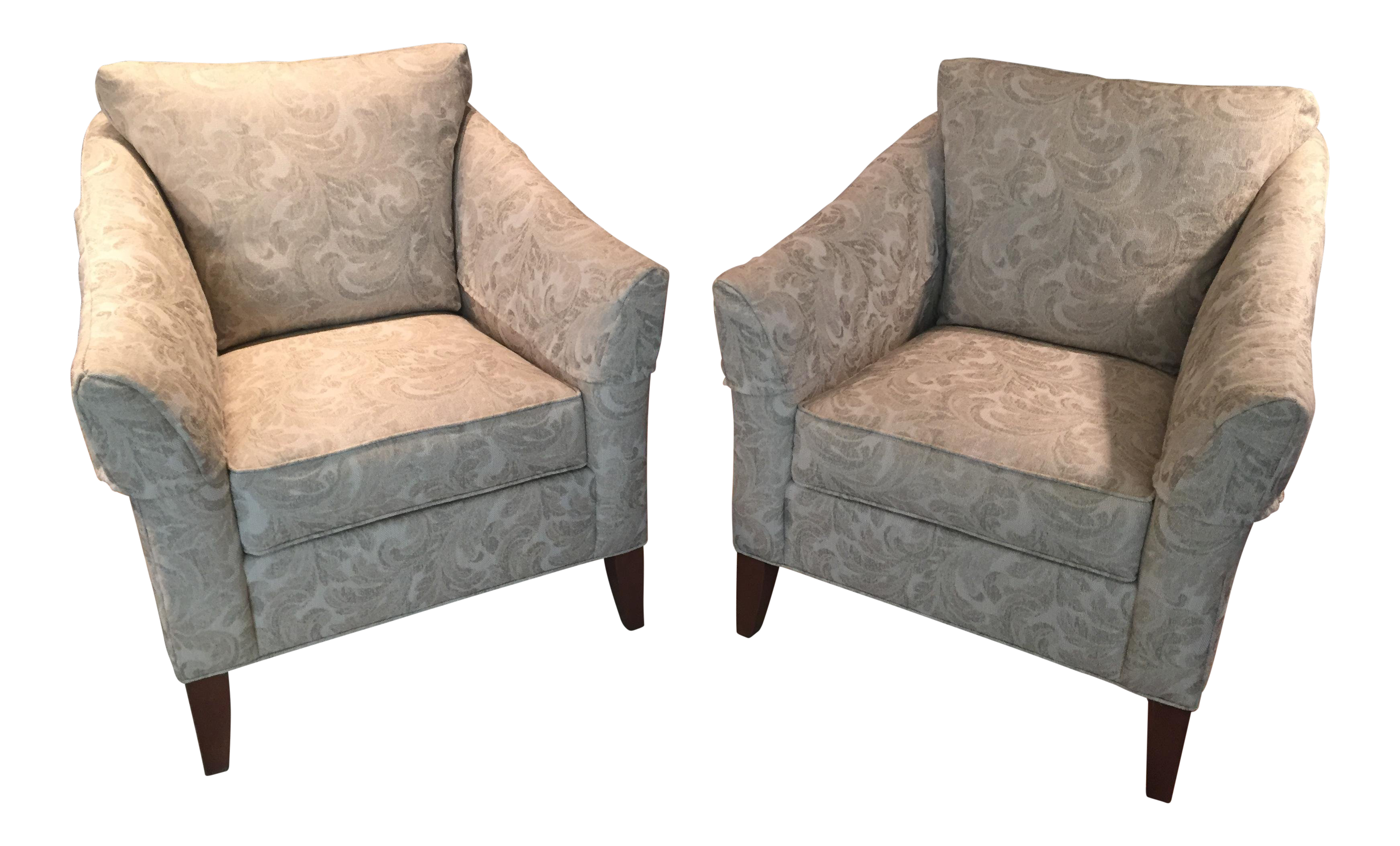 Ethan Allen Gibson Upholstered Club Chairs   A Pair