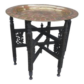 Moroccan Brass Peacock Tray Table