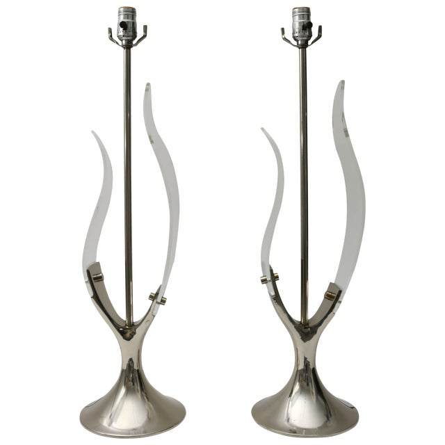 """""""Tulip"""" Table Lamps in Lucite and Polished Chrome by Laurel - a Pair For Sale"""