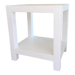 "Boho Chic White Plaster ""Telephone"" Side Table For Sale"