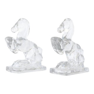L.E. Smith Rearing Horse Glass Bookends - a Pair