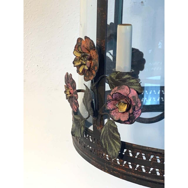 Neoclassical French Polychromed Tole Floral Lantern For Sale - Image 3 of 7