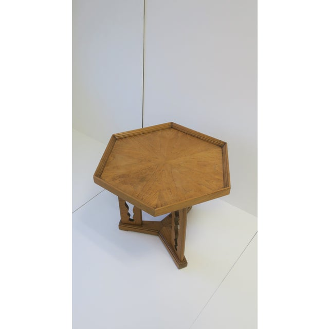 Hexagon Wood Side or End Table Esperanto by Drexel For Sale - Image 9 of 13