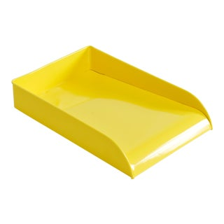 Vintage Steel Letter Tray Refinished in Sunshine Yellow - Free u.s. Shipping For Sale