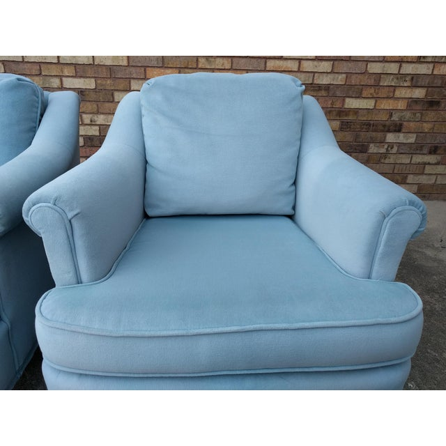 Vintage Blue Velvet Rolled Arm Club Chairs by Sam Moore Furniture - A Pair - Image 6 of 11