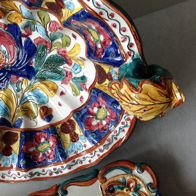 Hand-Painted Majolica Pottery Bowl & Tray - Image 10 of 11