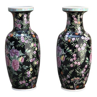1960s Chinoiserie Tall Vases - a Pair For Sale