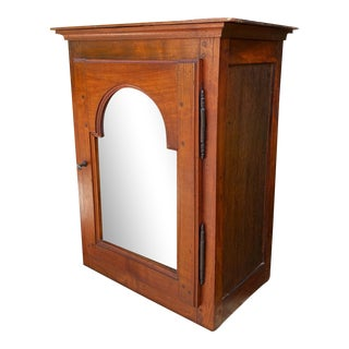 Antique Fruitwood French Country Hanging Vitrine Wall Cabinet For Sale