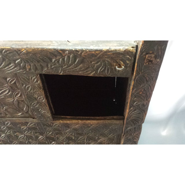 Afghanistan Dowry Dark Ebony Caved Wedding Chest For Sale - Image 7 of 10