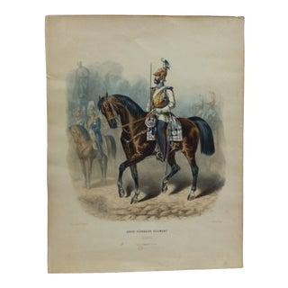 "1920s Vintage ""Garde - Kurassier Regiment"" German Color Lithograph Print For Sale"
