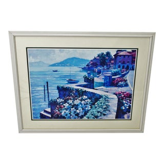 Large Vintage 1991 Howard Behrens Il Lago Como Italy Framed Lithograph For Sale