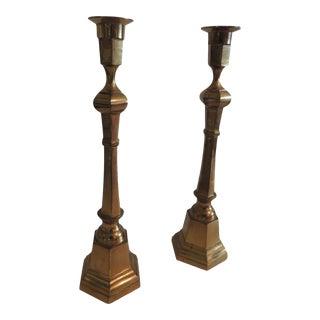 Pair of Brass German Vintage Candlesticks For Sale