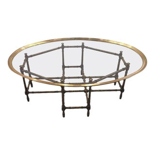 1970s Hollywood Regency Baker Faux Bamboo/Tortoise Coffee Table For Sale