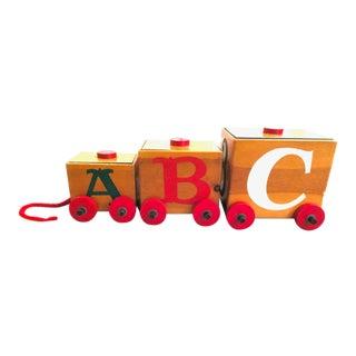 Antique Train Design Pine Toy Boxes - 3 Pc. Set For Sale