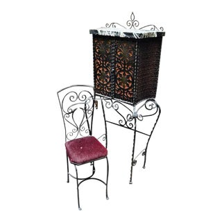 Iron Telephone Stand & Chair After Oscar Bach For Sale