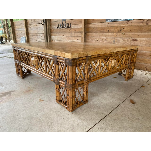 Chinese Chippendale Fretwork Rattan Coffee Table For Sale - Image 13 of 13