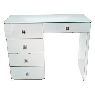 Art Deco Five-Drawer Mirrored Vanity With Square Lucite Pulls & Chrome Hardware For Sale