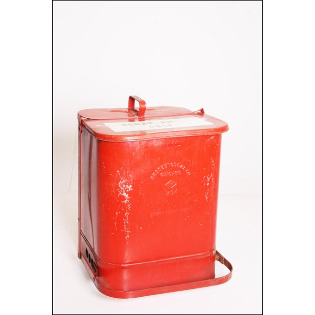 Vintage Industrial Red Metal Trash Can with Flip Top Lid - Image 8 of 11